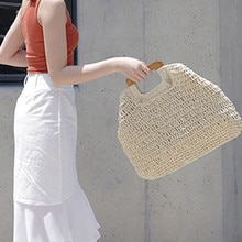 Women Round Straw Beach Bag Vintage Handmade Woven Shoulder Bag Raffia circle Rattan bags Bohemian Summer Vacation Casual Bag#35