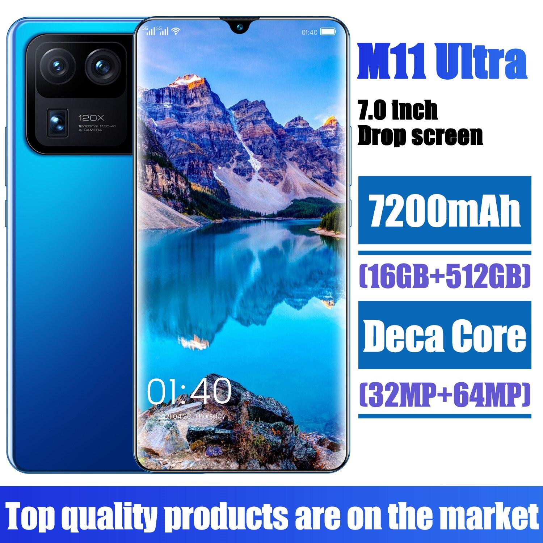 New Arrival M11 Ultra 5G Mobile Cell Phone 7.0Inch 16+512GB MT6893 Deca Core Fingerprint Face ID 32MP+64MP 7200MAH Dual SIM Card
