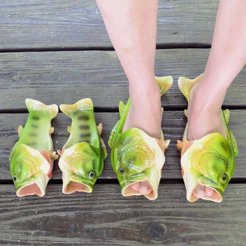 Zapatillas divertidas de pescado, zapatos artesanales para niños y niñas, zapatillas de playa de verano 2020, recién llegadas, toboganes para niños de 5T-14T familiares