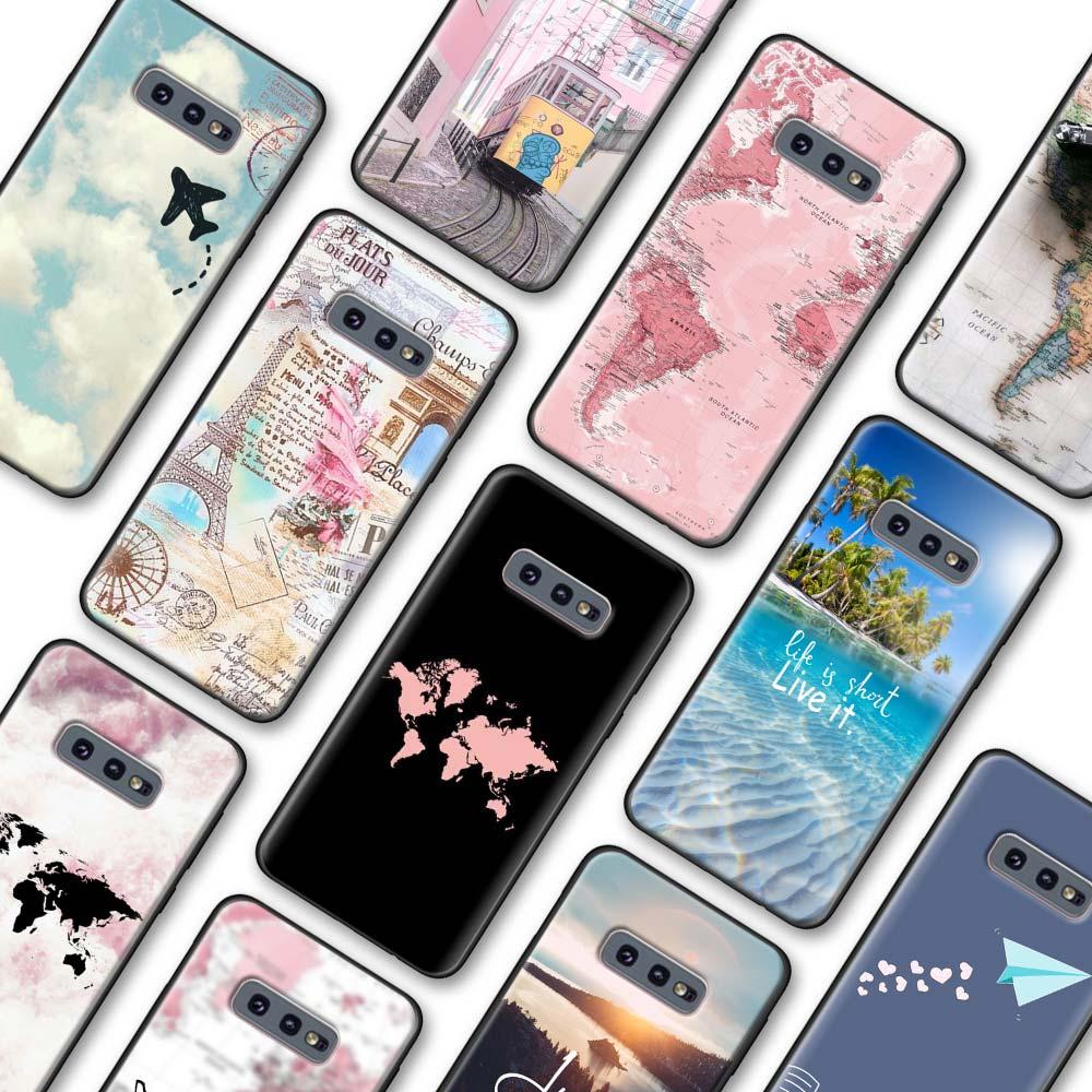 Funda de viaje Just Go mapamundi para Samsung Galaxy S10 S20 Plus S8 S9 S10 S20 S10e Note 8 9 10 Plus 20 Ultra 5G