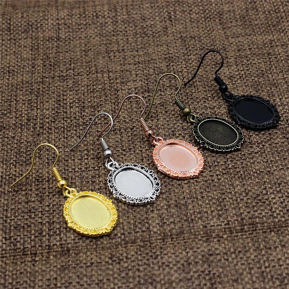 Ajuste de 10x14mm cabujón ovalado patrón de cristal ajuste bisel Marco en blanco bandeja pendiente Base para DIY hacer accesorios regalo 20 piezas