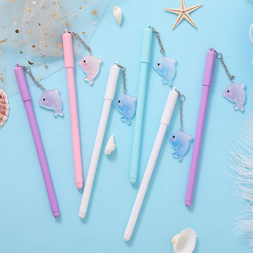 Bolígrafo de gel de tinta negra Kawaii Cute 0,5mm, bolígrafos de bola para escribir dibujos animados, colgante de delfín, artículos de papelería para estudiantes, suministros escolares encantadores