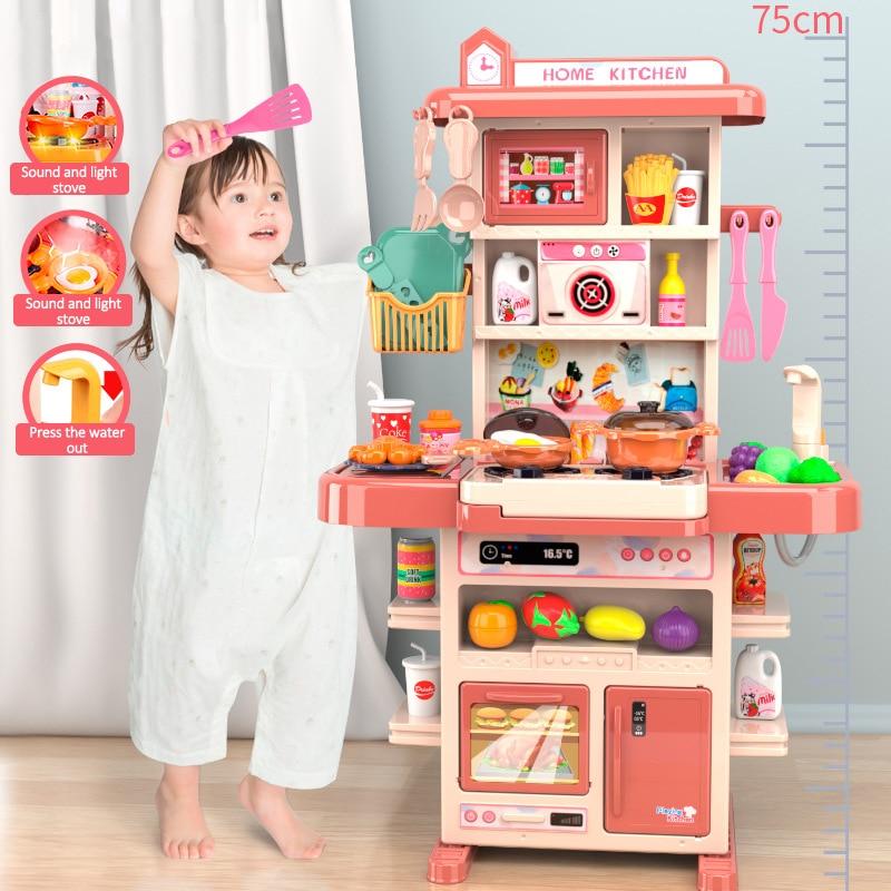 كبيرة لتقوم بها بنفسك لعب مطبخ صغير للأطفال الصوت والضوء مطبخ صغير آمن البلاستيك التظاهر لعب دور أدوات المائدة لعبة تعليمية للأطفال