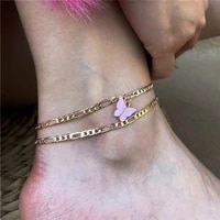 new fashion cute butterfly pendant anklets for women gold color chain ankle bracelet on leg 2021 bohemian beach foot jewelry