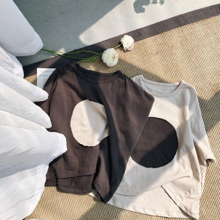 Oversize Mädchen T Shirt Lose Stil Baumwolle Grobe Rand Kreis Kurzarm Kinder T-shirt für Jungen Mode Baby T shirts Kinder Top