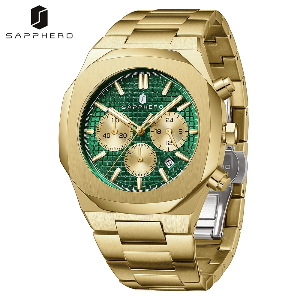 SAPPHERO Watch for Men with Stainless Steel Chronograph Quartz Movement Waterproof 30M Luxury Casual