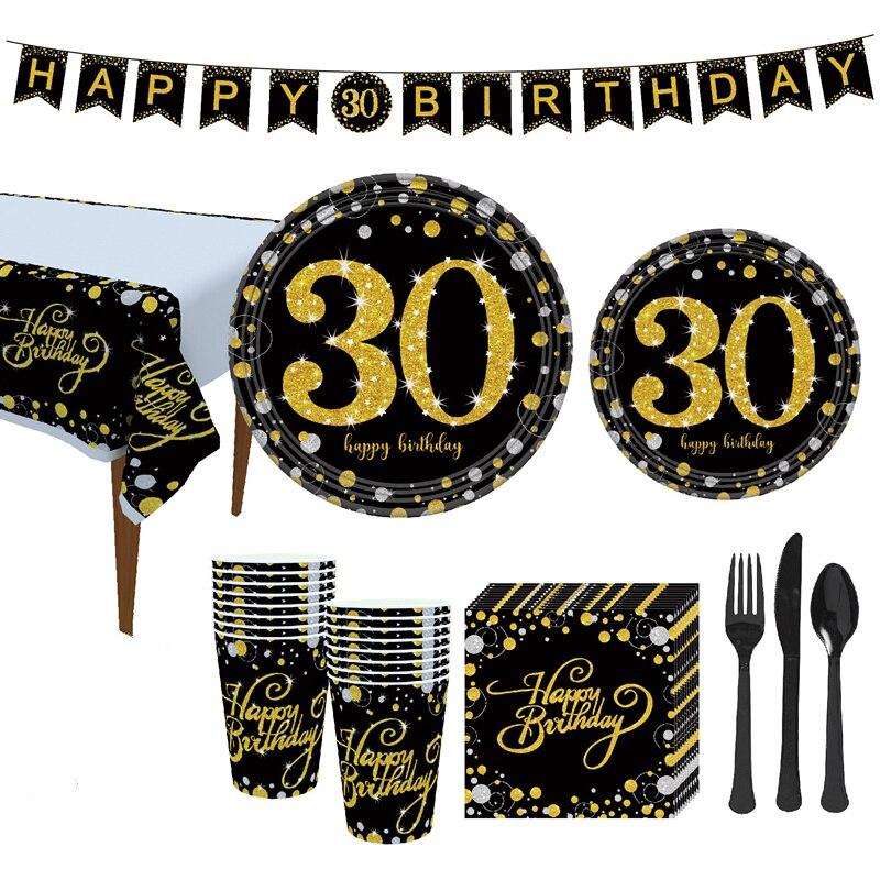 Vaisselle jetable pour fête numéro de thème   Vaisselle pour thème 21/30/40/50/60e anniversaire
