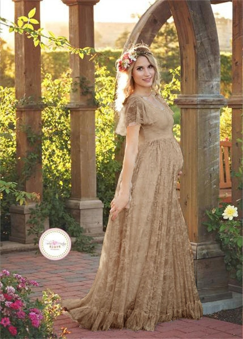Women Long Sleeve Maternity Gowns for Photo Shoot Lace Pregnancy Maxi Gown Dresses Pregnant Hochzeitskleid Schwanger enlarge