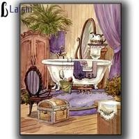 Peinture diamant classique 5D  vue de la salle de bain  couture douce maison  strass en cristal  Kit de broderie  mosaique  point de croix