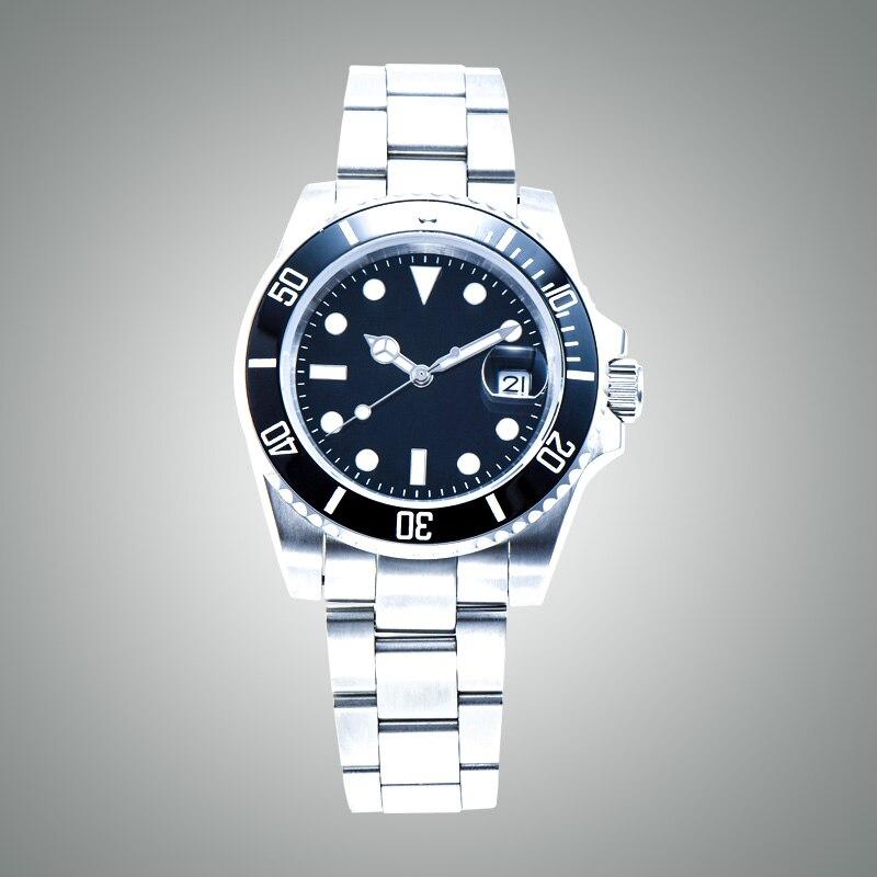 ساعة حركة أوتوماتيكية ، 40 مللي متر ، فولاذ ، مينا أسود ، زجاج ياقوتي ، قرص أسود ، L403