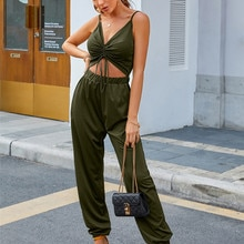 Wjustforu Spaghetti Strap Jumpsuit Women Off Shoulder Bandage Crrop Top One Piece Outfit Women High