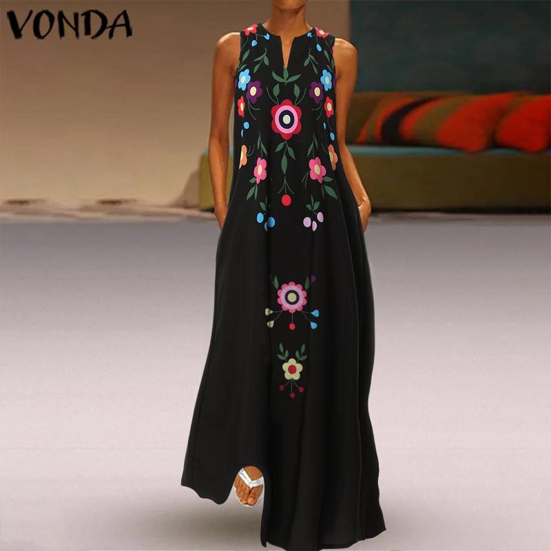 2020 VONDA Summer Fashion Womens Maxi Dress Sexy V Neck Sleeveless Print Vestido Bohemian Long Dress Party Robe Femme Oversized