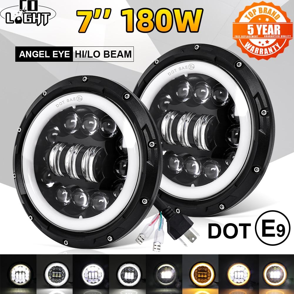 "CO LIGHT 7 inch Led Headlight Offroad 4x4 9000LM Hi/Low 12V 24V LED DRL 7"" Led Headlamp for Motocycle Lada Niva UAZ 3500K 6500K"