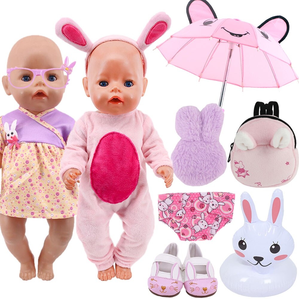 Doll Clothes Rabbit Pattern Accessories Bag Lifebuoy For 43 Cm New Born Baby Clothes 18 Inch America