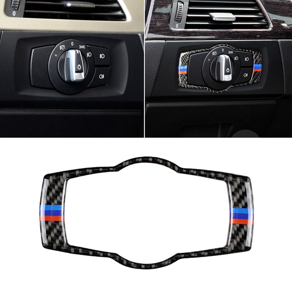 Carbon Fiber Headlight Switch Frame Cover Sticker Cover Trim Car Styling Accessories for BMW E90 E92 E93 320i 325i 05-12