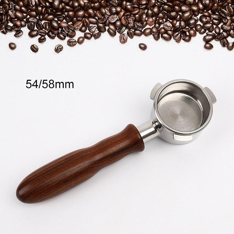 مقبض ماكينة القهوة بدون قعر, مقبض ماكينة القهوة 54/58 مللي متر بمقبض من خشب الورد الأحمر لـ Barsello LEHEHE SP99