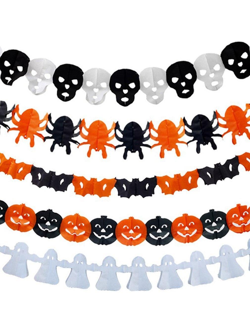 Halloween Party Decoration Banner Atmosphere Decoration Arrangement Hanging Flag Skeleton Pumpkin Pattern Flag