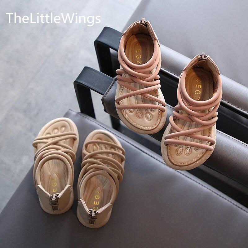 ¡NOVEDAD DE VERANO 2020! Sandalias de Punta abierta para niña de Roma, zapatos antideslizantes de fondo suave de moda para playa, zapatos para niños de 1 a 3 años.
