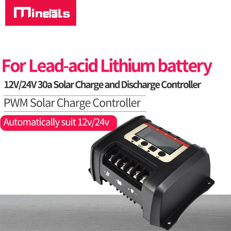 PWM الشمسية جهاز التحكم في الشحن 12 فولت/24 فولت 30A LCD الخلفية عرض البطارية الشمسية مع معلمة قابلة لإعادة التدوير