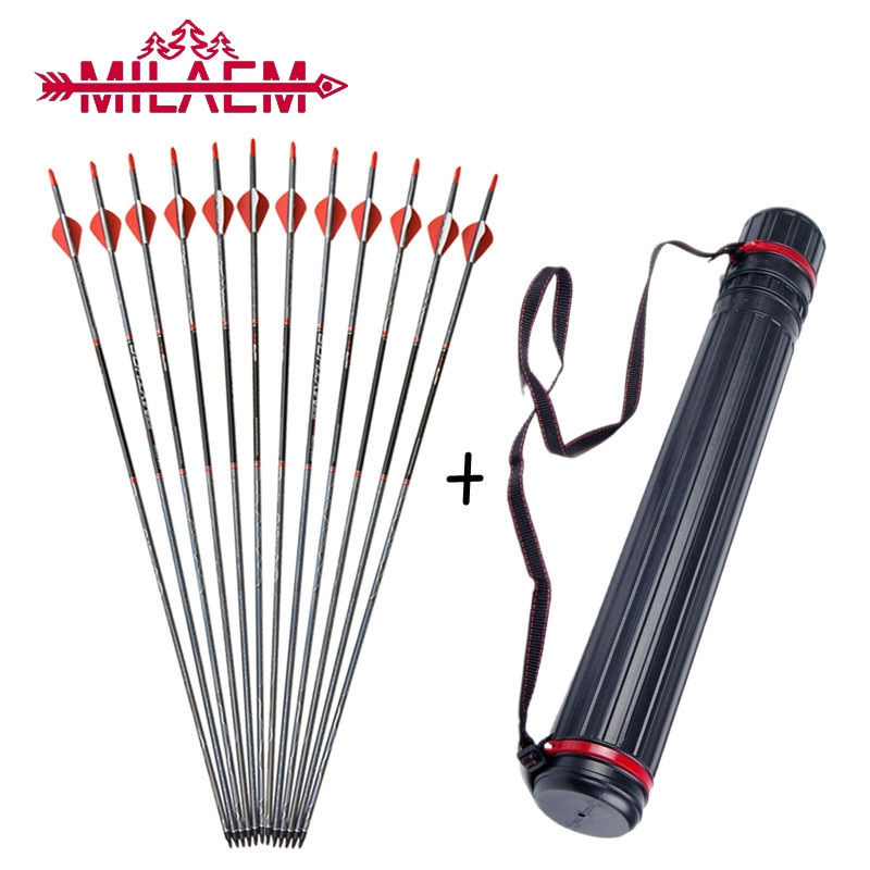 12 Pcs Archery Arrow With Arrow Quiver Mixed Carbon Spine 500 ID 6.2mm Arrow Shaft Bow and Arrow Shooting Hunting Accessories