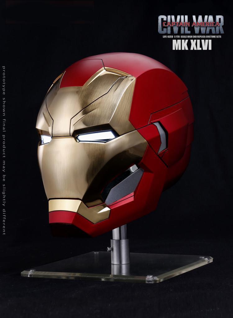 Modelo de casco eléctrico automático Avengerss 4, MK46 de Iron Man, en Stock, Capitán-USA, guerra Civil 1/1, regalos para Fans