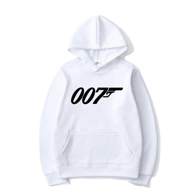 James bond cor sólida hoodies 007 impresso masculino feminino esportes casual streetwear pulôver moda unisex hip hop streetwear hoodie
