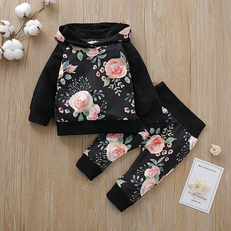 Para bebé niña ropa de manga larga Floral Sudadera con capucha Tops + Pantalones 2 piezas conjunto de ropa de otoño conjuntos