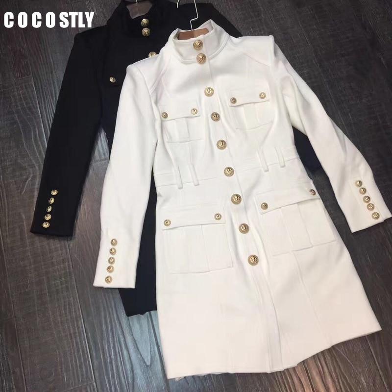 Robe dhiver femme, Vintage à manches longues col en or, à boutons, travail professionnel, moulant, à crayons, robe de bureau