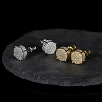 hip hop 1pair zircon micro full paved rhinestone cz stone round bling iced out stud earring copper earrings for men jewelry