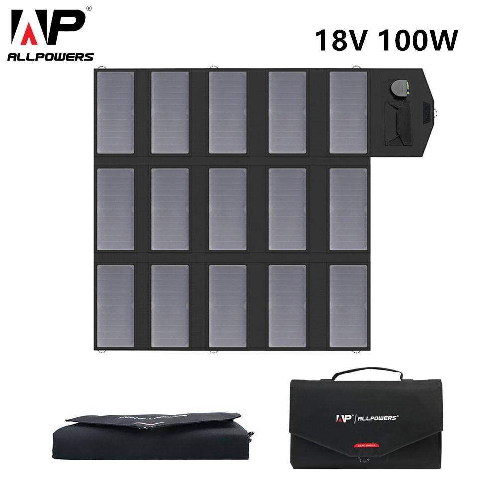 ALLPOWERS Portable Solar Panel Charger 100W 18V 12v Foldable Solar Panel Solar Battery Charger for Laptop Cellphones
