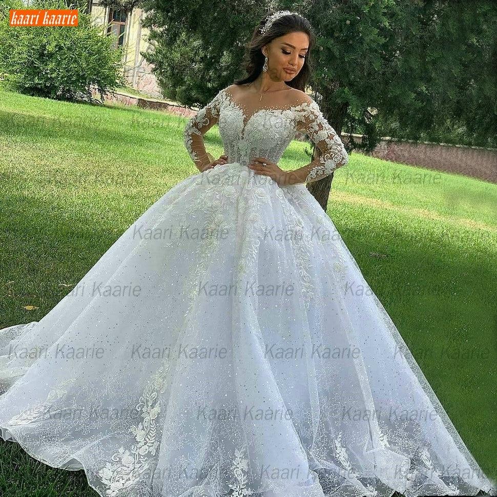 Promo Ball Gown Wedding Dresses O Neck Long Sleeves Vestido Casamento Lace Up Appliqus Beaded Bride Gowns 2021 Suknie Slubne Princess