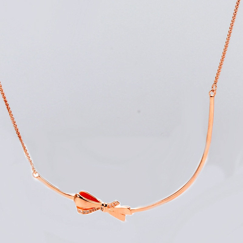 Lazo brillante Rosa Original con cierre deslizante Collar de plata de ley 925 mujeres regalo de boda Europa Diy joyería