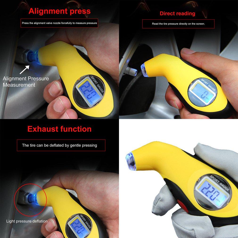 Voiture électronique numérique LCD jauge de pression des pneus compteur 0-100 PSI rétro-éclairage pneu manomètre baromètres testeur outil