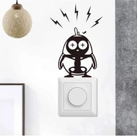 switch art decal electric shock bird self adhesive wall sticker removable children room decorative accessories