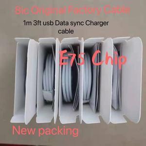 10 pçs/lote original 8ic 1m/3ft 2m/6ft e75 chip usb cabo de dados carregador para 5 5S 6s 7plus 8 8pl x com nova caixa