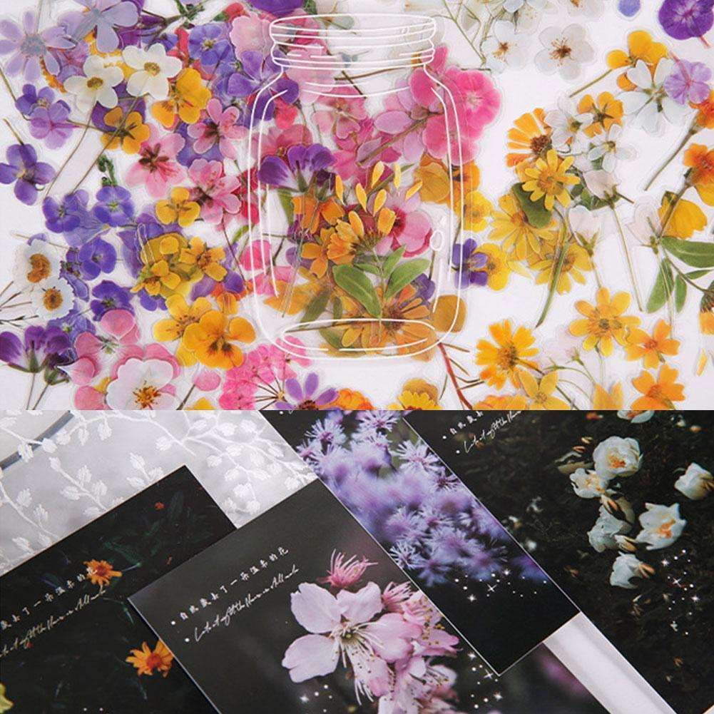 40 Sheets/Pack PET Sticker Natural Flower Plants Sticker Diary Album Decoration Planners Diy Stationery Scrapbooking Sticke Y9M6