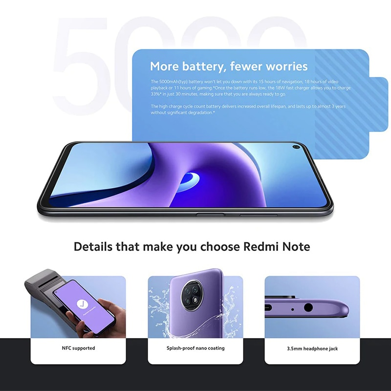【New Listing】Global Version Xiaomi Redmi Note 9T 5G SmartPhone 4GB/128GB MTK Dimensity 800 Eight -Core 48MP Full Screen With NFC enlarge