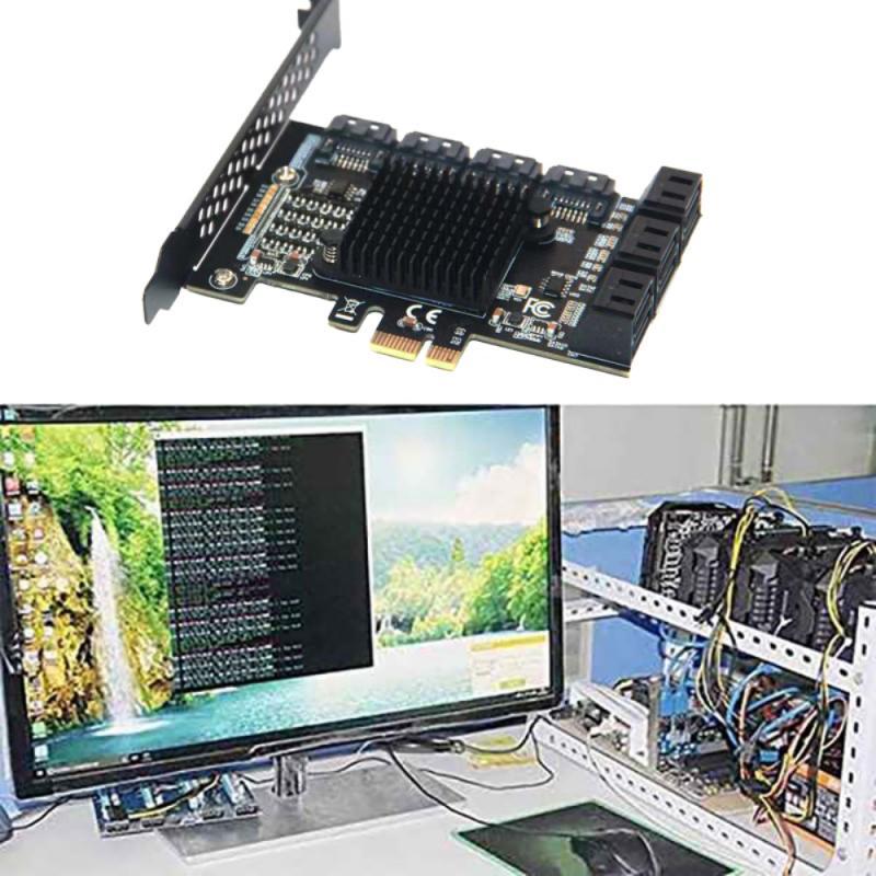 PCI-E SATA بطاقة التوسع PCI-E 1X إلى 10-Port SATA3.0 6Gbps بطاقة التوسع سطح المكتب PCIE-SATA بطاقة التعدين