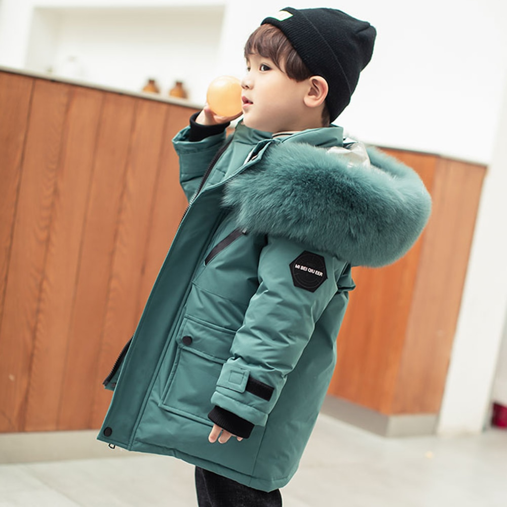 Kids Puffer Jackets Hooded Overcoat Solid Outerwear for Boys White Duck Down Coat Windproof Clothes Winter Warm Long Sleeve enlarge