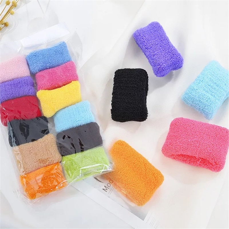 12 piezas de moda para mujer bandas elásticas para el cabello anchas gruesas diademas Color caramelo accesorios para el cabello toalla bandas de pelo de algodón cuerda