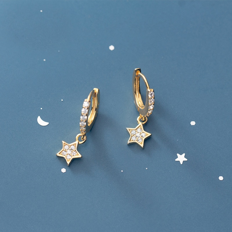 Pendientes de aro de estrella Plata de Ley 925 auténtica MloveAcc para mujer, de plata de ley, joyería, pendientes bonitos pequeños, pendientes Boucle doreille