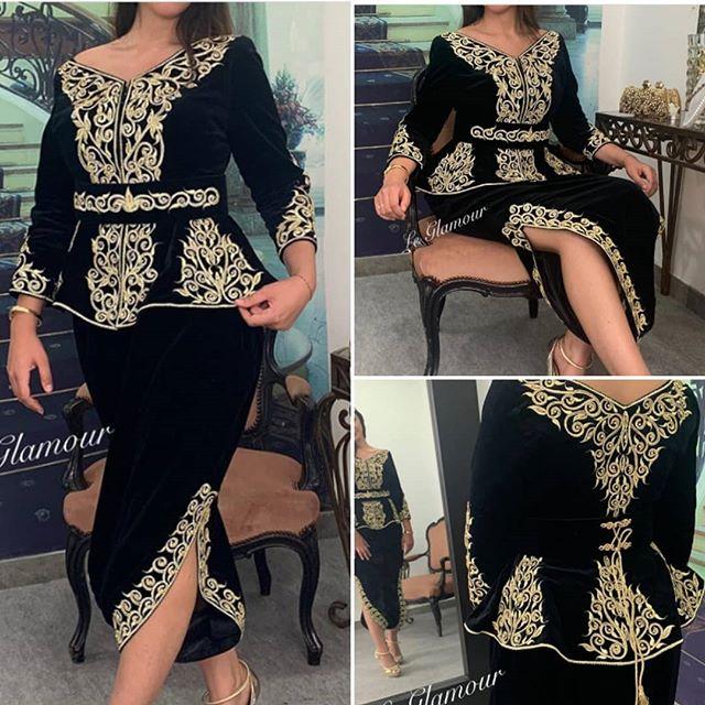 Negro tobillo-longitud vestidos para fiesta de graduación 2021 oro encaje bordado manga larga Peplum abertura larga vestido de noche Karakou algerien