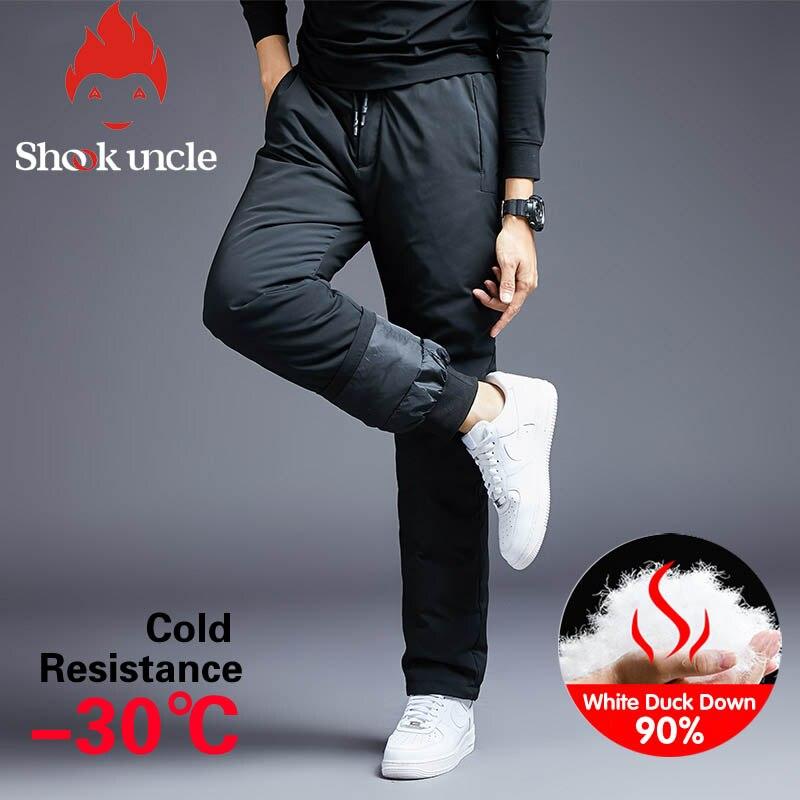 Pantalones acolchados de invierno cálidos para hombre, pantalones blancos para deportes al aire libre, Pantalones rectos para acampar, pantalones de senderismo, pantalones gruesos de baja térmica, 9288