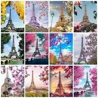 Evershine     peinture diamant theme tour Eiffel  ensemble complet de mosaique 5D  broderie de paysage  images en strass  decoration de maison
