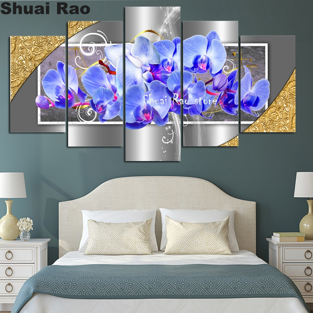 Imágenes de orquídeas de plata púrpura 5 uds. 5d pintura de diamantes diy mosaico cuadrado bordado de diamantes Venta de pintura de diamantes,
