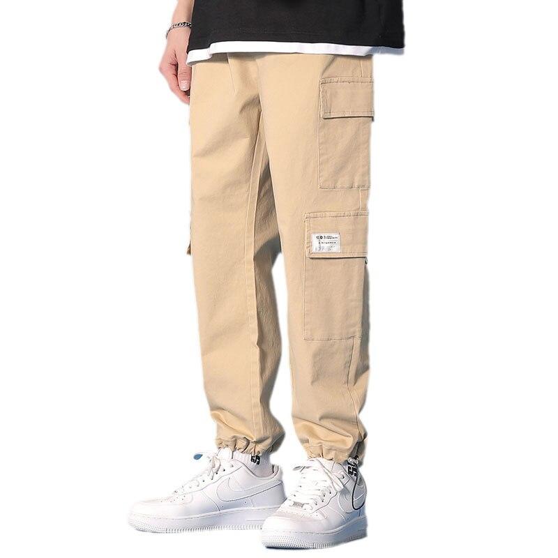 Брюки-карго мужские, свободные штаны с завязками, прямые штаны в корейском и гонконгском стиле, повседневные, цвета хаки, весна
