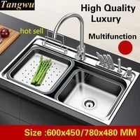 free shipping apartment vogue luxury kitchen single trough sink wash vegetable 304 stainless steel hot sell 60x4578x48 cm