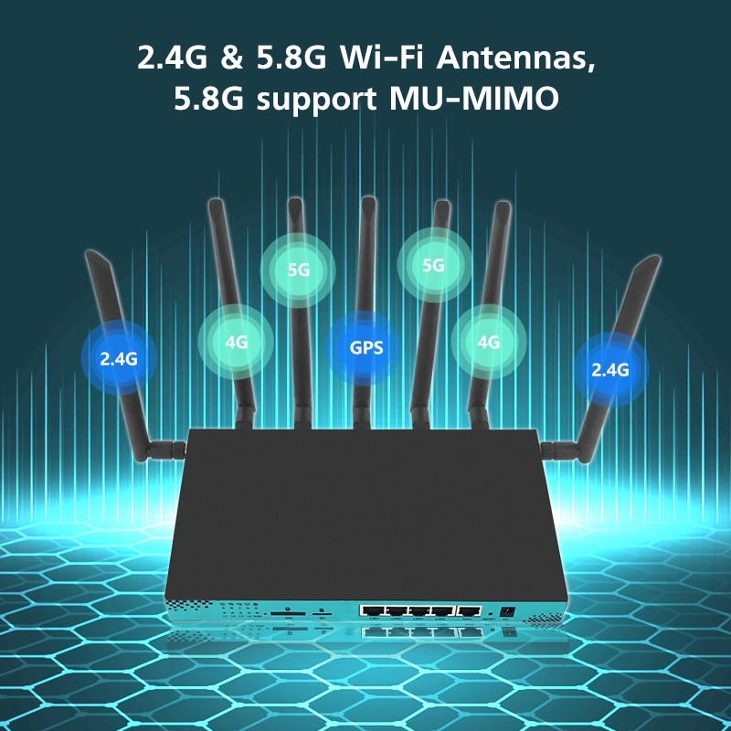 5G wireless routers WG1608 wifi router MT7621A USB3.0 support high speed 4G & 5G module EM7455 EM12-G For Network