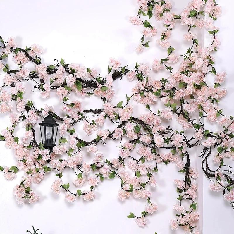 AliExpress - 170CM Fake Cherry Blossom Vine Artificial Flowers Sakura DIY Rattan High Quality Wall Hanging Garland Party Wedding Wreath Decor