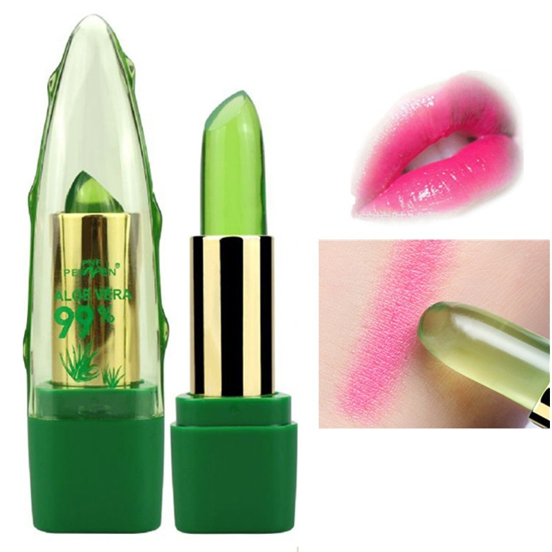 Aloe Jelly lápiz labial de color cambiante transparente lápiz labial cambio de color de temperatura humectante Jelly Lipsticks maquillaje bálsamo labial